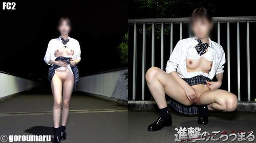 【オボワz☆ 投稿作品】県立K③現役モデルパイパン⑰ 深夜露出徘徊後、男子トイレで生中出し!